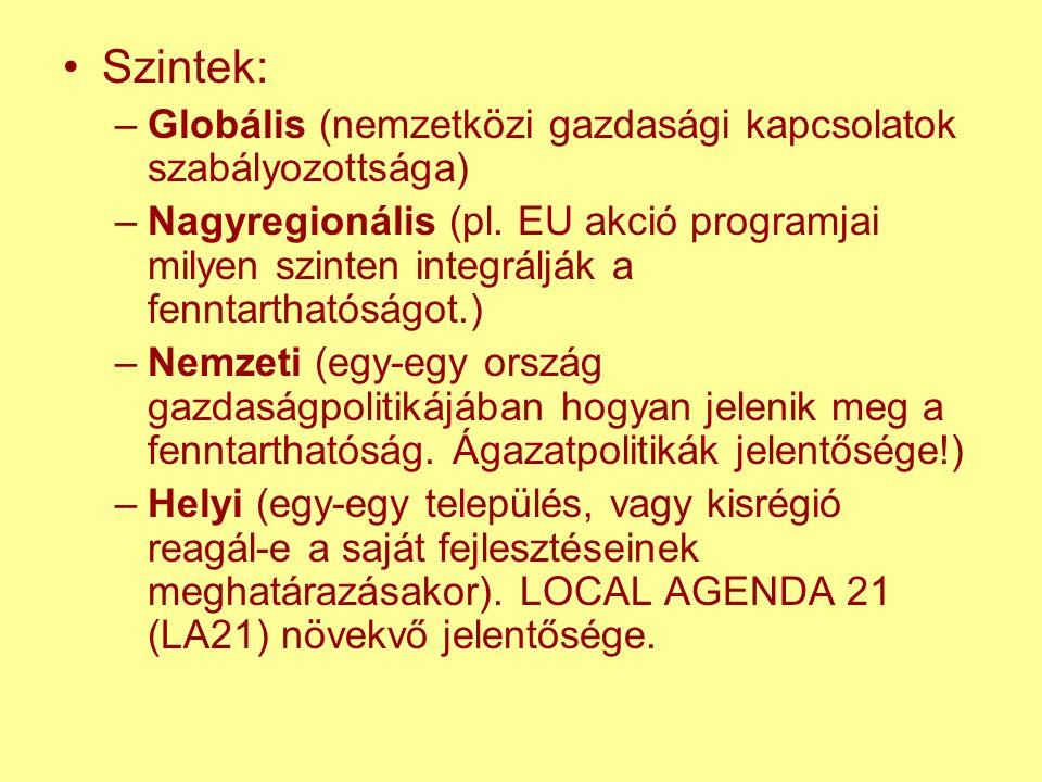 Szintek: –Globális (nemzetközi gazdasági kapcsolatok szabályozottsága) –Nagyregionális (pl.