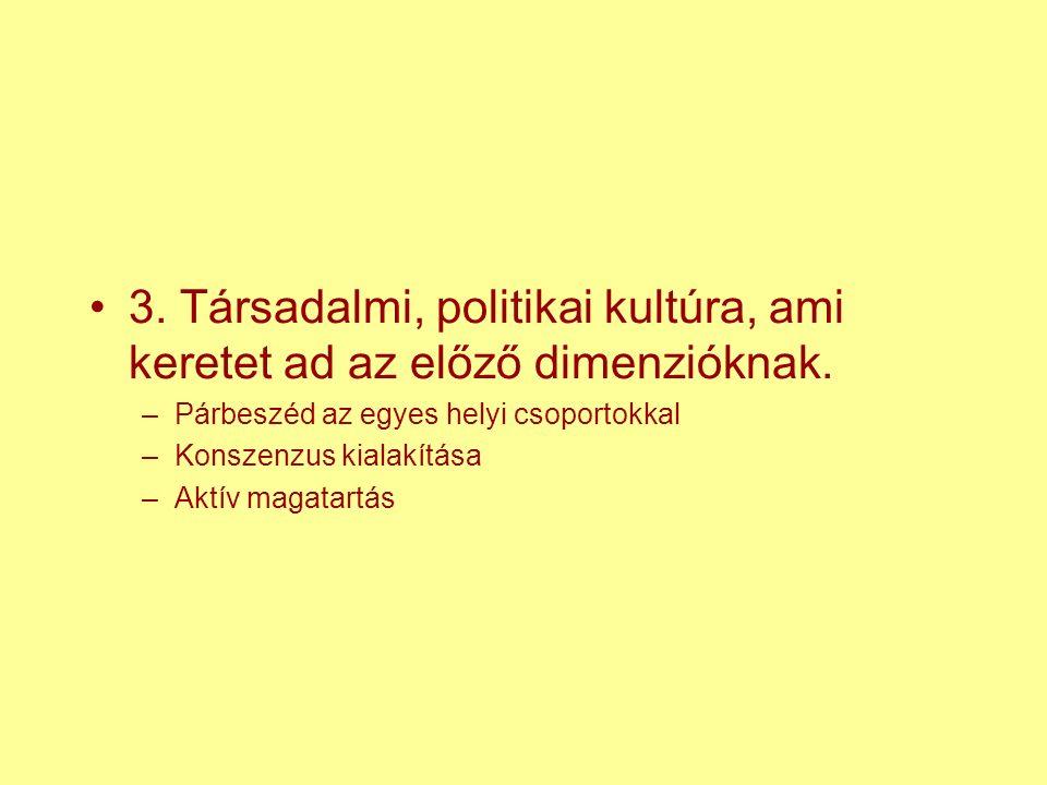 3. Társadalmi, politikai kultúra, ami keretet ad az előző dimenzióknak.