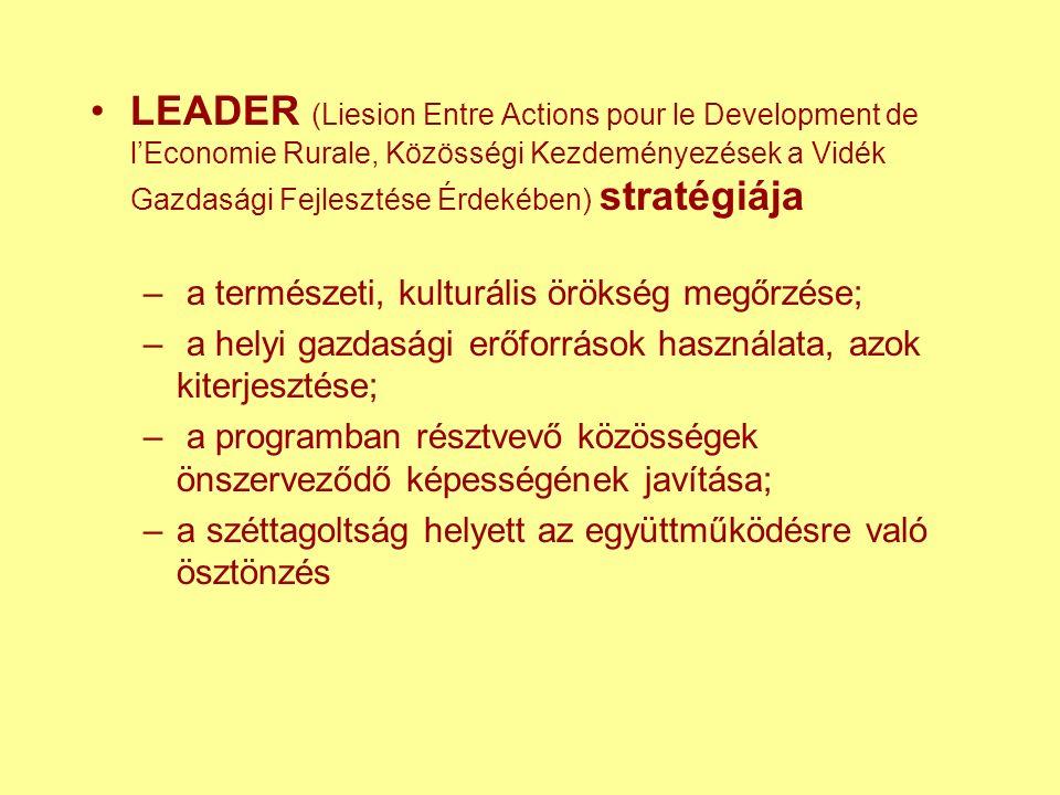 LEADER (Liesion Entre Actions pour le Development de l'Economie Rurale, Közösségi Kezdeményezések a Vidék Gazdasági Fejlesztése Érdekében) stratégiája – a természeti, kulturális örökség megőrzése; – a helyi gazdasági erőforrások használata, azok kiterjesztése; – a programban résztvevő közösségek önszerveződő képességének javítása; –a széttagoltság helyett az együttműködésre való ösztönzés