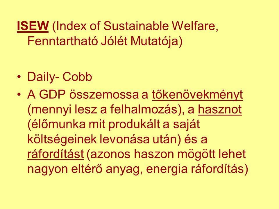 ISEW (Index of Sustainable Welfare, Fenntartható Jólét Mutatója) Daily- Cobb A GDP összemossa a tőkenövekményt (mennyi lesz a felhalmozás), a hasznot (élőmunka mit produkált a saját költségeinek levonása után) és a ráfordítást (azonos haszon mögött lehet nagyon eltérő anyag, energia ráfordítás)