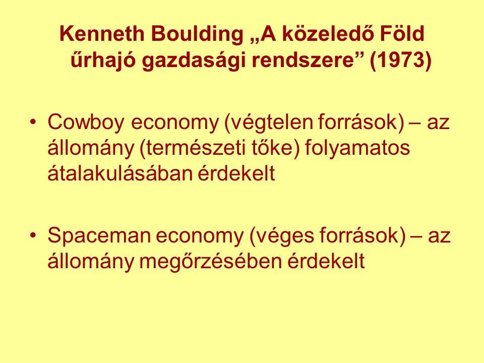 """Kenneth Boulding """"A közeledő Föld űrhajó gazdasági rendszere (1973) Cowboy economy (végtelen források) – az állomány (természeti tőke) folyamatos átalakulásában érdekelt Spaceman economy (véges források) – az állomány megőrzésében érdekelt"""