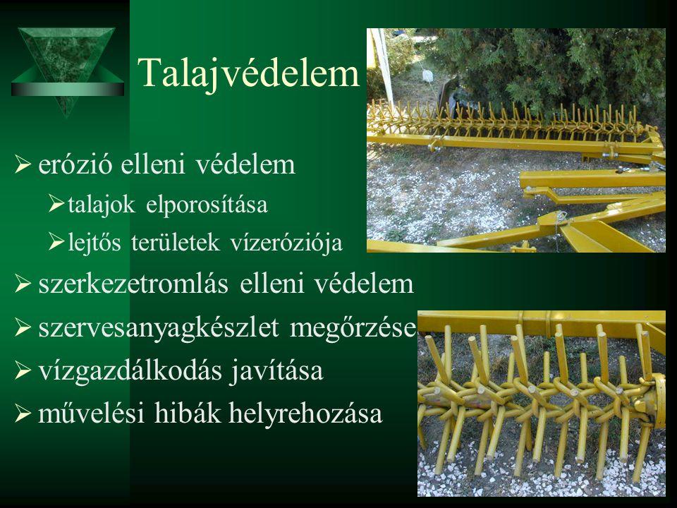Talajvédelem  erózió elleni védelem  talajok elporosítása  lejtős területek vízeróziója  szerkezetromlás elleni védelem  szervesanyagkészlet megőrzése  vízgazdálkodás javítása  művelési hibák helyrehozása