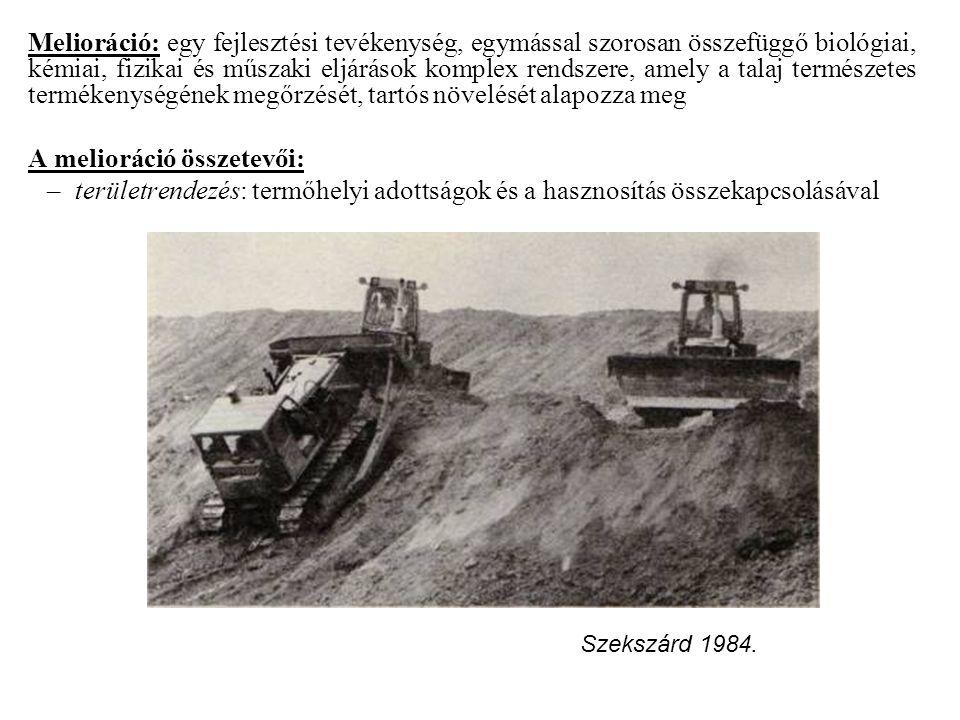 Melioráció: egy fejlesztési tevékenység, egymással szorosan összefüggő biológiai, kémiai, fizikai és műszaki eljárások komplex rendszere, amely a talaj természetes termékenységének megőrzését, tartós növelését alapozza meg A melioráció összetevői: –területrendezés: termőhelyi adottságok és a hasznosítás összekapcsolásával Szekszárd 1984.