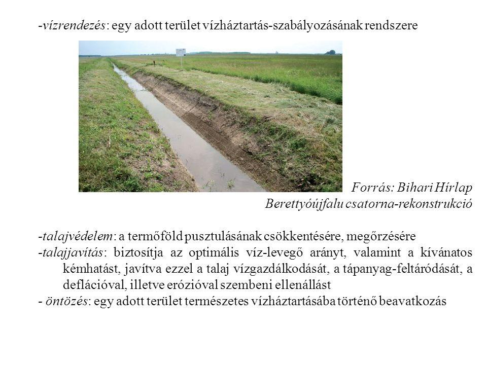 -vízrendezés: egy adott terület vízháztartás-szabályozásának rendszere Forrás: Bihari Hírlap Berettyóújfalu csatorna-rekonstrukció -talajvédelem: a termőföld pusztulásának csökkentésére, megőrzésére -talajjavítás: biztosítja az optimális víz-levegő arányt, valamint a kívánatos kémhatást, javítva ezzel a talaj vízgazdálkodását, a tápanyag-feltáródását, a deflációval, illetve erózióval szembeni ellenállást - öntözés: egy adott terület természetes vízháztartásába történő beavatkozás