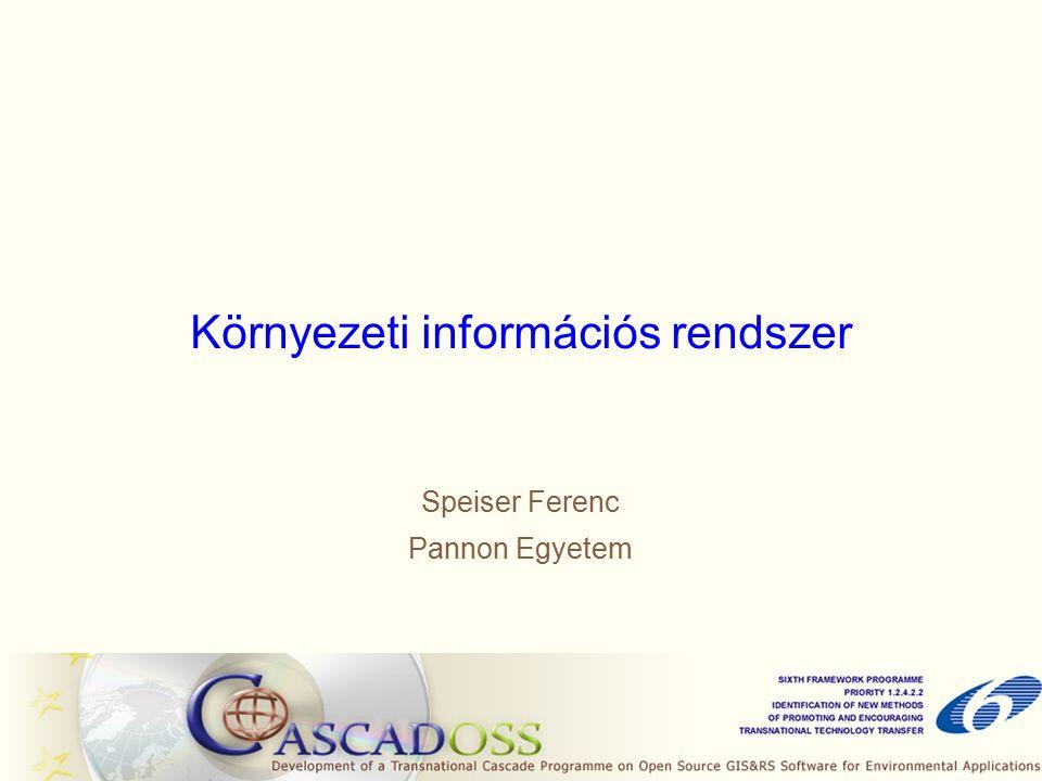 Környezeti információs rendszer Speiser Ferenc Pannon Egyetem
