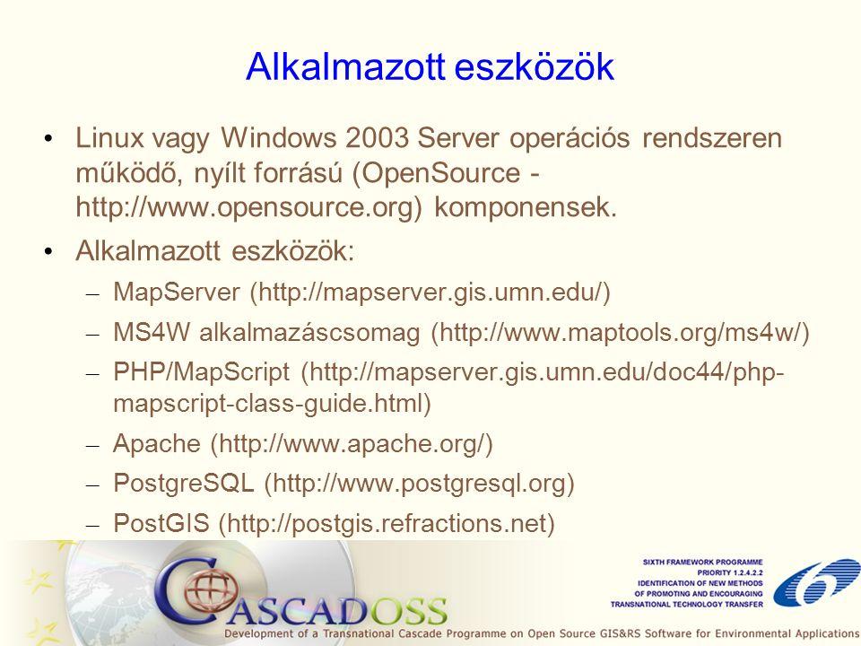 Alkalmazott eszközök Linux vagy Windows 2003 Server operációs rendszeren működő, nyílt forrású (OpenSource - http://www.opensource.org) komponensek.