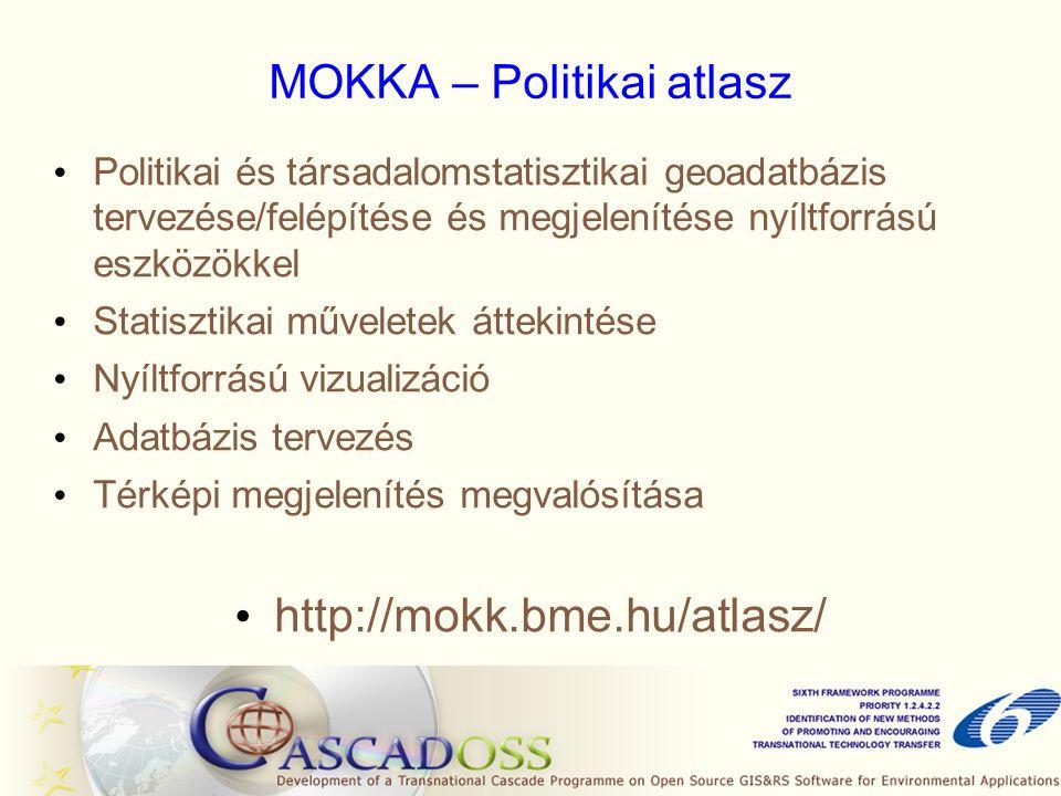 MOKKA – Politikai atlasz Politikai és társadalomstatisztikai geoadatbázis tervezése/felépítése és megjelenítése nyíltforrású eszközökkel Statisztikai műveletek áttekintése Nyíltforrású vizualizáció Adatbázis tervezés Térképi megjelenítés megvalósítása http://mokk.bme.hu/atlasz/