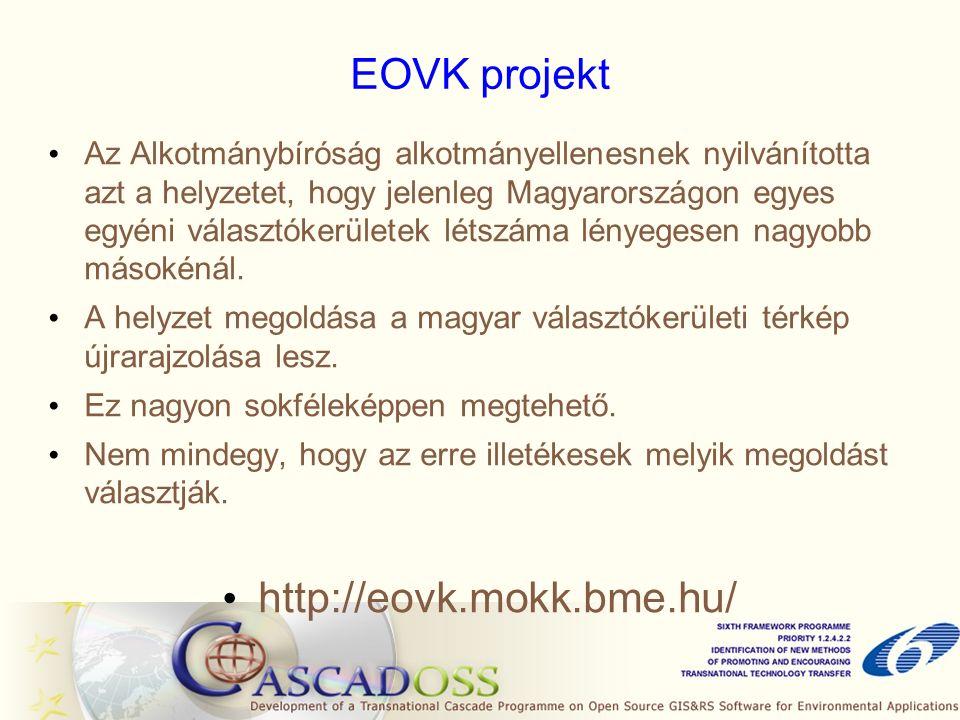 EOVK projekt Az Alkotmánybíróság alkotmányellenesnek nyilvánította azt a helyzetet, hogy jelenleg Magyarországon egyes egyéni választókerületek létszáma lényegesen nagyobb másokénál.