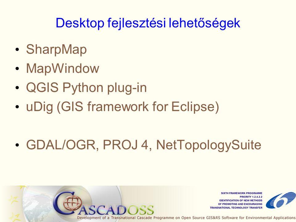 Desktop fejlesztési lehetőségek SharpMap MapWindow QGIS Python plug-in uDig (GIS framework for Eclipse) GDAL/OGR, PROJ 4, NetTopologySuite