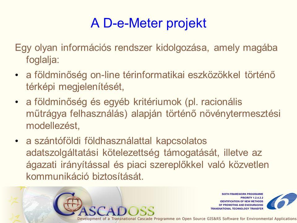 A D-e-Meter projekt Egy olyan információs rendszer kidolgozása, amely magába foglalja: a földminőség on-line térinformatikai eszközökkel történő térképi megjelenítését, a földminőség és egyéb kritériumok (pl.