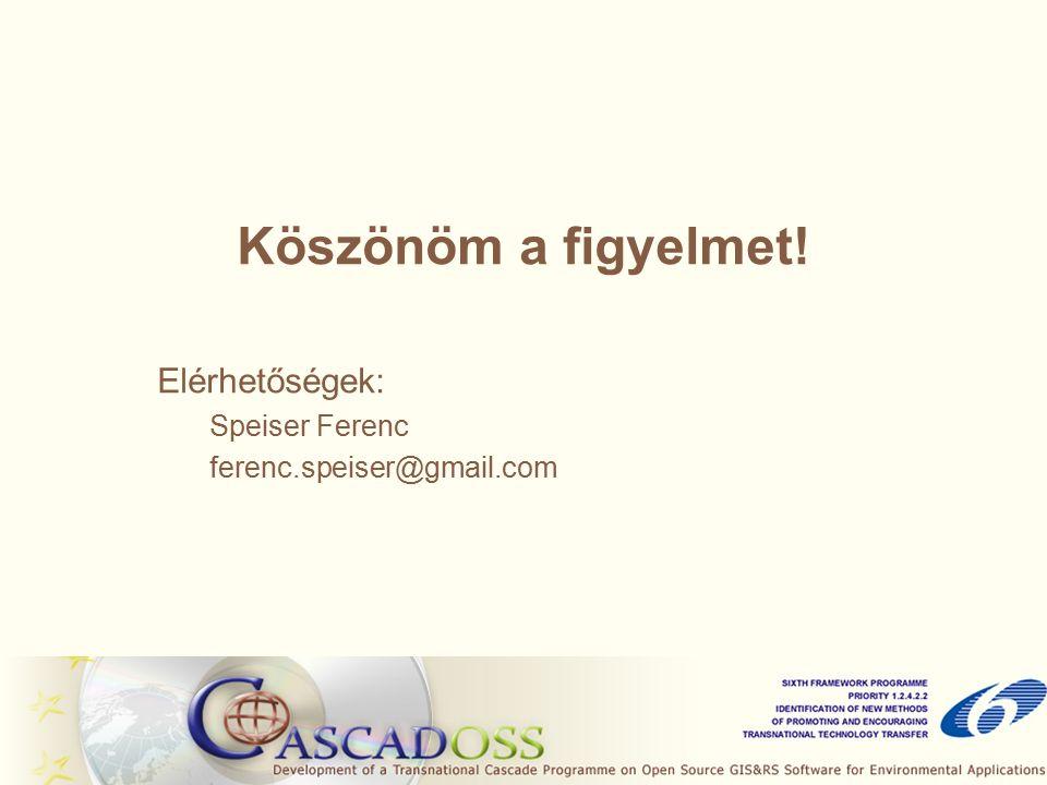 Köszönöm a figyelmet! Elérhetőségek: Speiser Ferenc ferenc.speiser@gmail.com