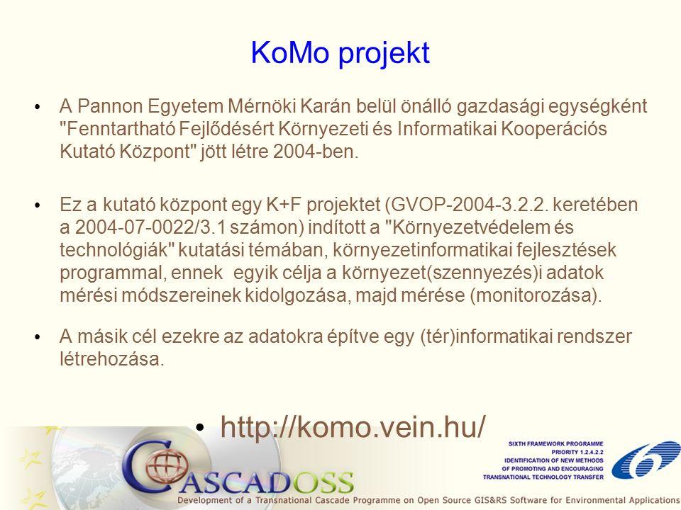 KoMo projekt A Pannon Egyetem Mérnöki Karán belül önálló gazdasági egységként Fenntartható Fejlődésért Környezeti és Informatikai Kooperációs Kutató Központ jött létre 2004-ben.