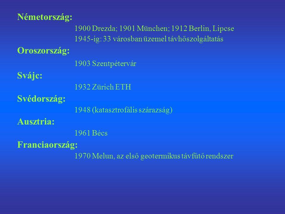 Németország: 1900 Drezda; 1901 München; 1912 Berlin, Lipcse 1945-ig: 33 városban üzemel távhőszolgáltatás Oroszország: 1903 Szentpétervár Svájc: 1932 Zürich ETH Svédország: 1948 (katasztrofális szárazság) Ausztria: 1961 Bécs Franciaország: 1970 Melun, az első geotermikus távfűtő rendszer
