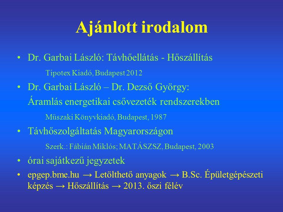 Ajánlott irodalom Dr. Garbai László: Távhőellátás - Hőszállítás Tipotex Kiadó, Budapest 2012 Dr.