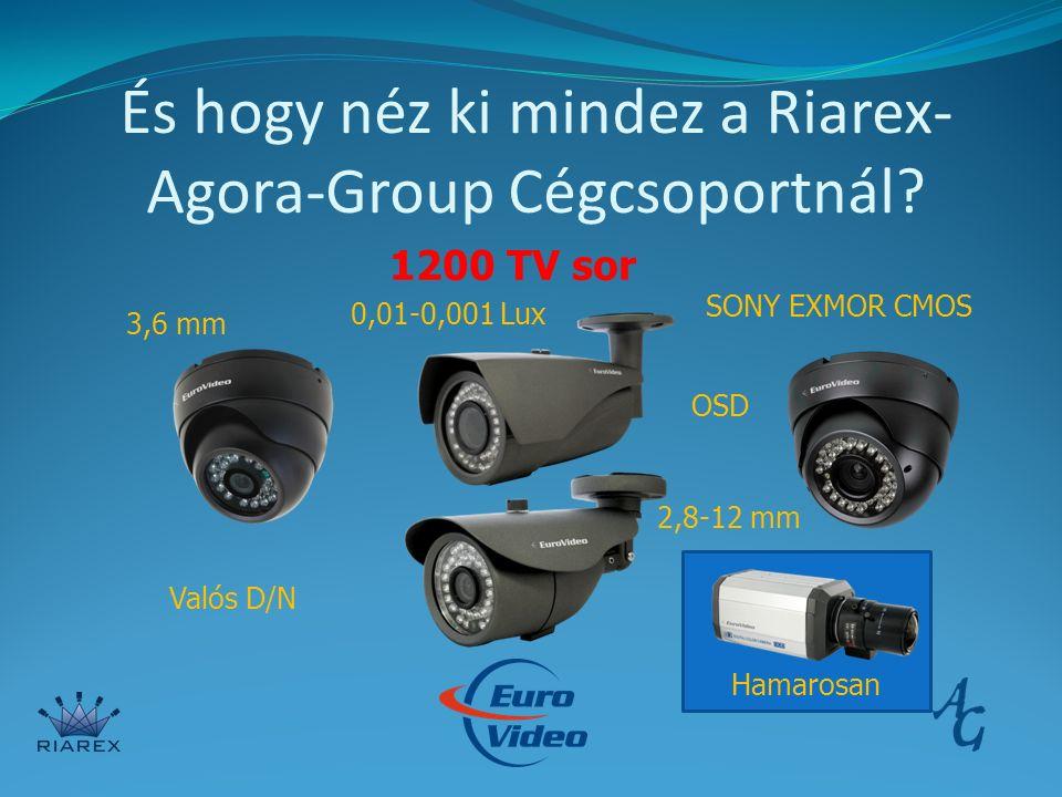 És hogy néz ki mindez a Riarex- Agora-Group Cégcsoportnál? 1200 TV sor SONY EXMOR CMOS Valós D/N 0,01-0,001 Lux OSD Hamarosan 3,6 mm 2,8-12 mm