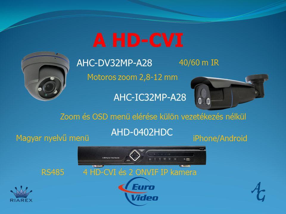 A HD-CVI AHC-DV32MP-A28 AHC-IC32MP-A28 AHD-0402HDC Motoros zoom 2,8-12 mm Zoom és OSD menü elérése külön vezetékezés nélkül 4 HD-CVI és 2 ONVIF IP kamera Magyar nyelvű menü iPhone/Android 40/60 m IR RS485