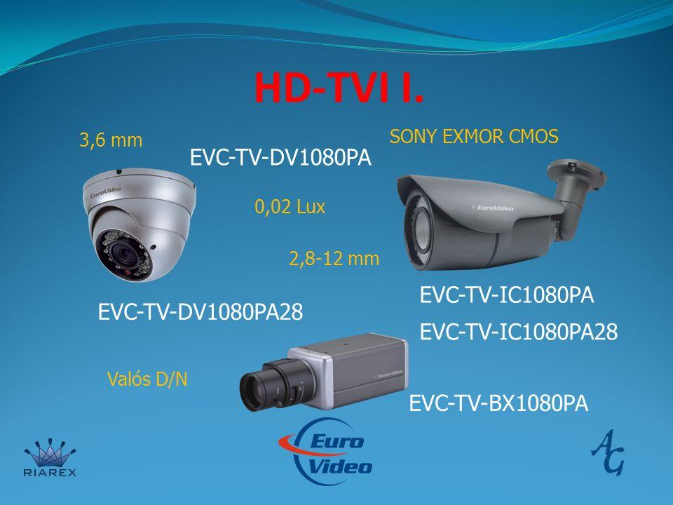 HD-TVI I. EVC-TV-DV1080PA EVC-TV-DV1080PA28 EVC-TV-IC1080PA EVC-TV-IC1080PA28 EVC-TV-BX1080PA 3,6 mm 2,8-12 mm SONY EXMOR CMOS Valós D/N 0,02 Lux