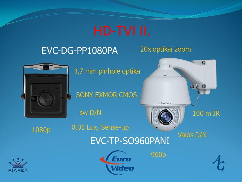 HD-TVI II. EVC-DG-PP1080PA EVC-TP-SO960PANI 20x optikai zoom 3,7 mm pinhole optika 1080p 960p SONY EXMOR CMOS Valós D/N sw D/N 0,01 Lux, Sense-up 100