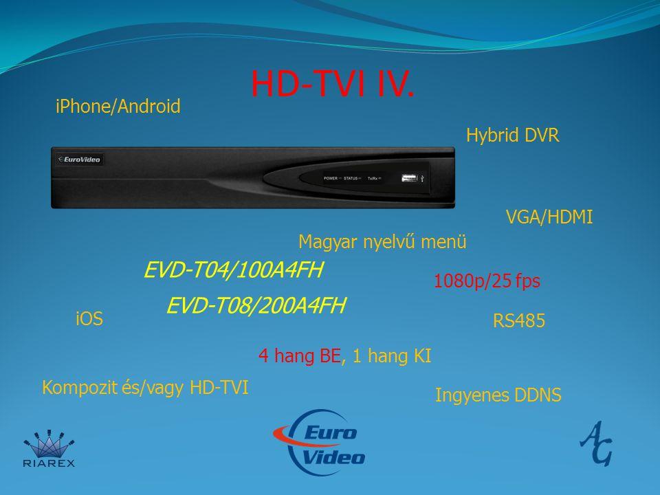 HD-TVI IV. EVD-T04/100A4FH EVD-T08/200A4FH iPhone/Android Hybrid DVR VGA/HDMI Magyar nyelvű menü 1080p/25 fps iOS Kompozit és/vagy HD-TVI 4 hang BE, 1