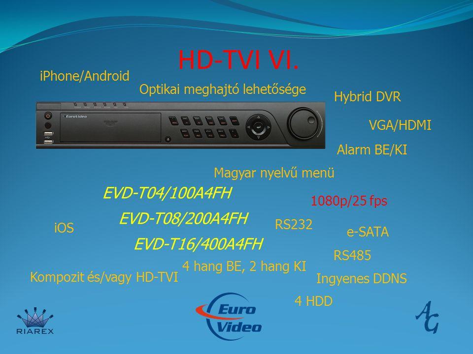 HD-TVI VI. iPhone/Android EVD-T04/100A4FH EVD-T08/200A4FH EVD-T16/400A4FH Hybrid DVR VGA/HDMI iOS Magyar nyelvű menü 1080p/25 fps Ingyenes DDNS 4 hang