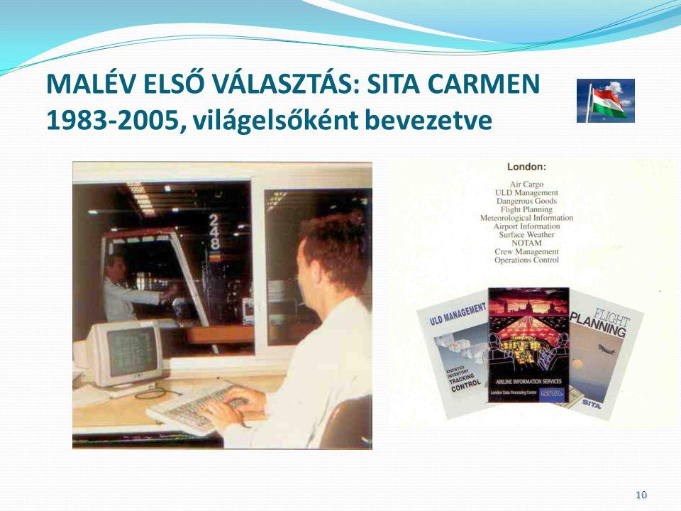 MALÉV ELSŐ VÁLASZTÁS: SITA CARMEN 1983-2005, világelsőként bevezetve 10