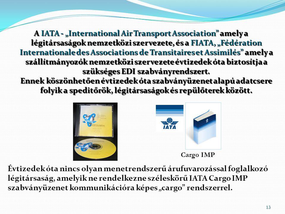 """Évtizedek óta nincs olyan menetrendszerű árufuvarozással foglalkozó légitársaság, amelyik ne rendelkezne széleskörű IATA Cargo IMP szabványüzenet kommunikációra képes """"cargo rendszerrel."""