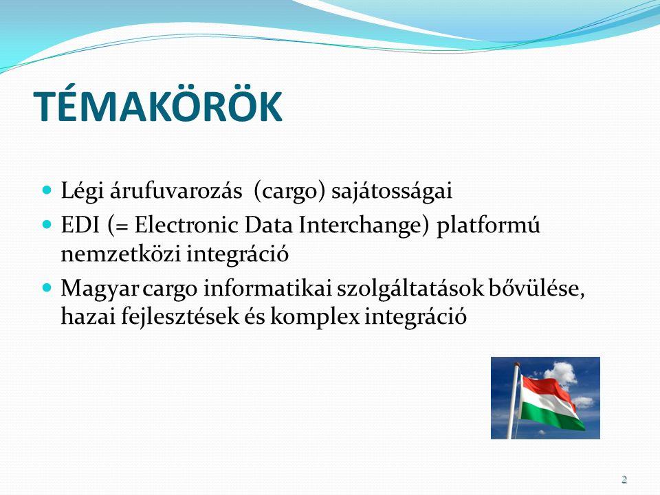 TÉMAKÖRÖK Légi árufuvarozás (cargo) sajátosságai EDI (= Electronic Data Interchange) platformú nemzetközi integráció Magyar cargo informatikai szolgáltatások bővülése, hazai fejlesztések és komplex integráció 2