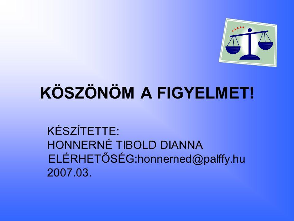 KÖSZÖNÖM A FIGYELMET! KÉSZÍTETTE: HONNERNÉ TIBOLD DIANNA ELÉRHETŐSÉG:honnerned@palffy.hu 2007.03.