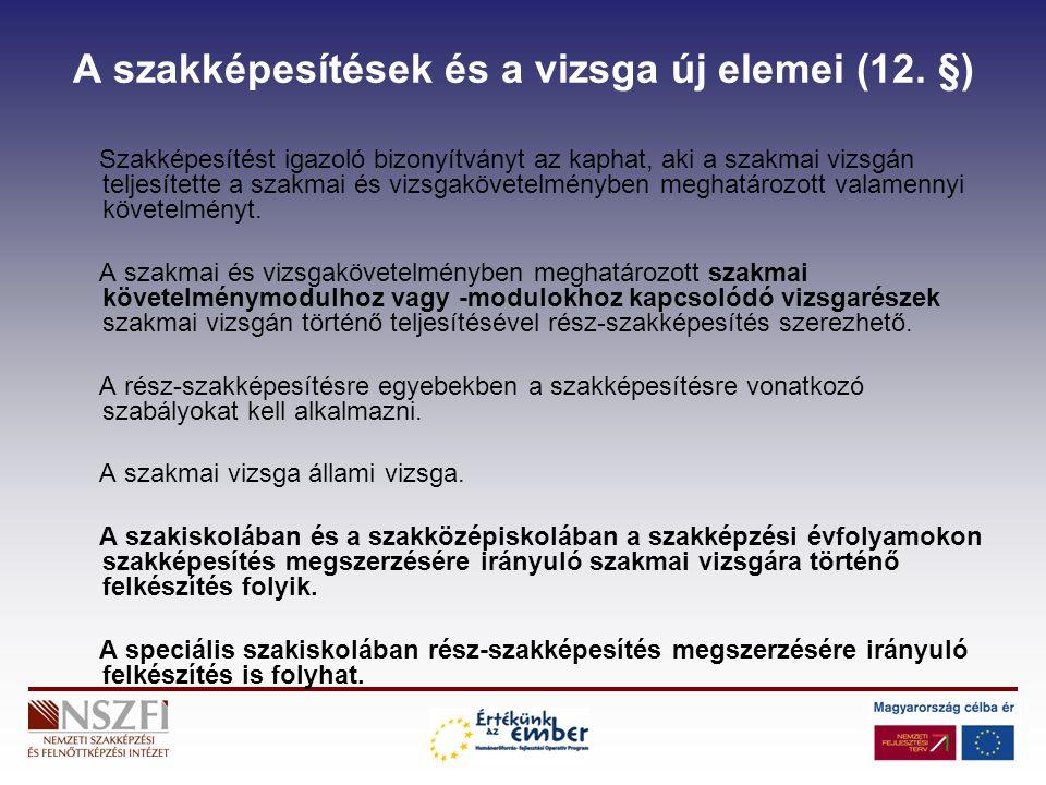 A szakképesítések és a vizsga új elemei (12.