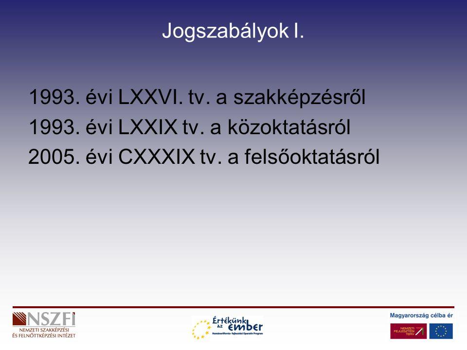Jogszabályok I. 1993. évi LXXVI. tv. a szakképzésről 1993.