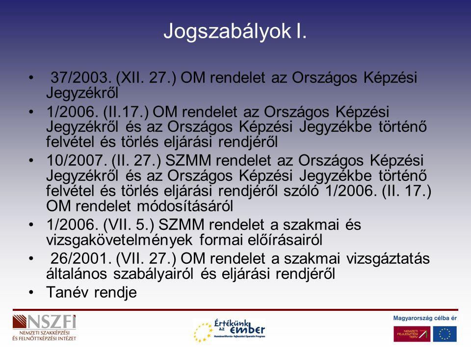 Jogszabályok I. 37/2003. (XII. 27.) OM rendelet az Országos Képzési Jegyzékről 1/2006.