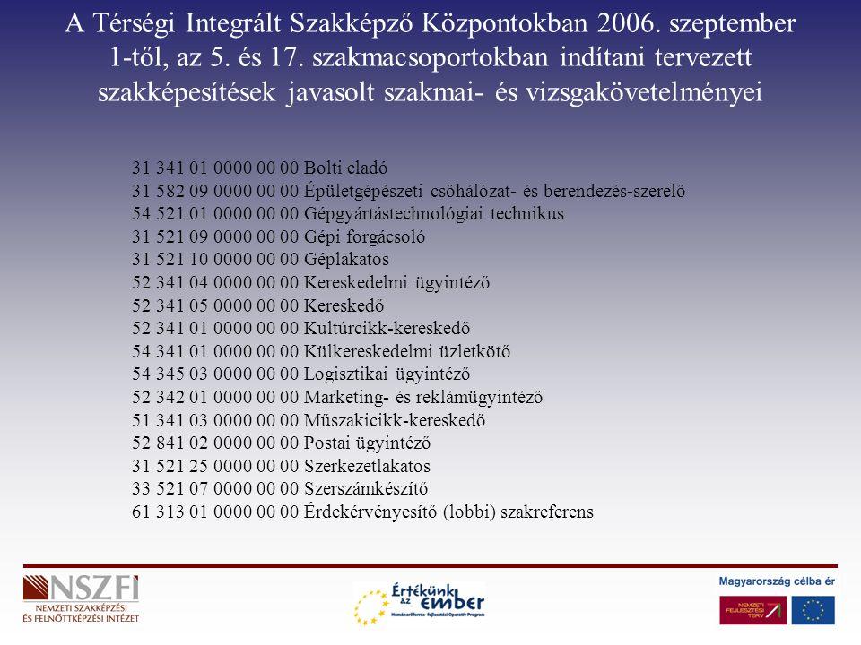 A Térségi Integrált Szakképző Központokban 2006. szeptember 1-től, az 5.