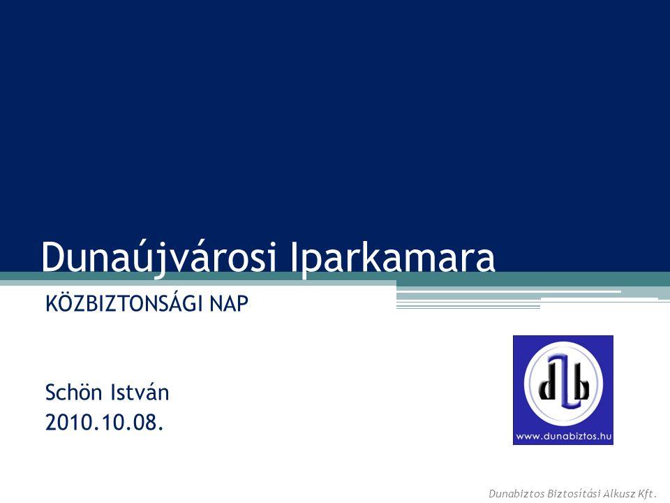 Dunaújvárosi Iparkamara KÖZBIZTONSÁGI NAP Schön István 2010.10.08. Dunabiztos Biztosítási Alkusz Kft.