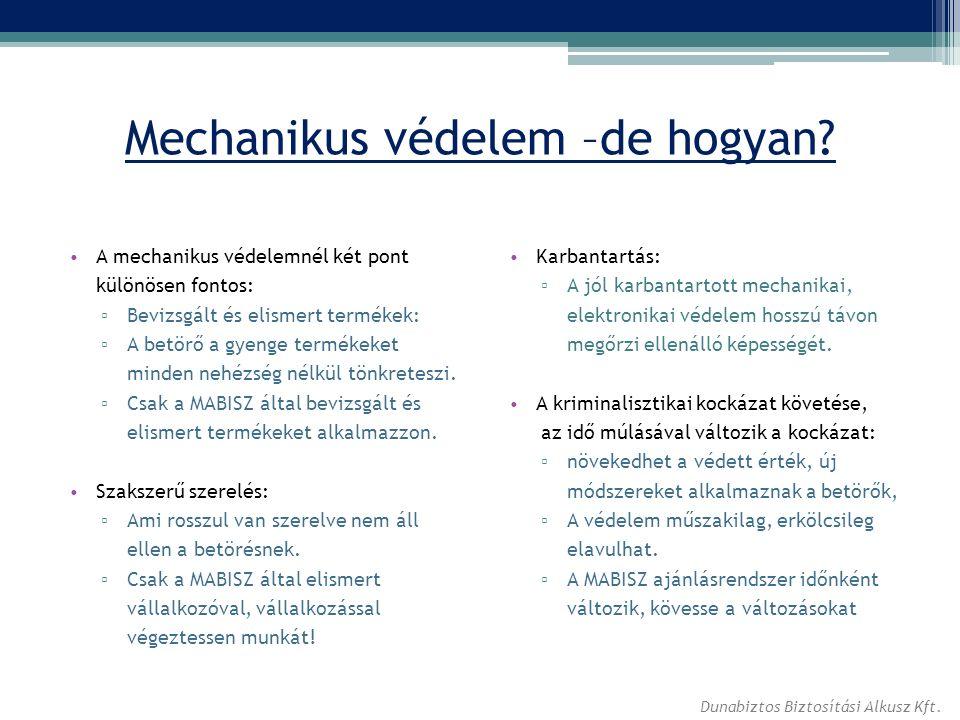 Mechanikus védelem –de hogyan? A mechanikus védelemnél két pont különösen fontos: ▫ Bevizsgált és elismert termékek: ▫ A betörő a gyenge termékeket mi