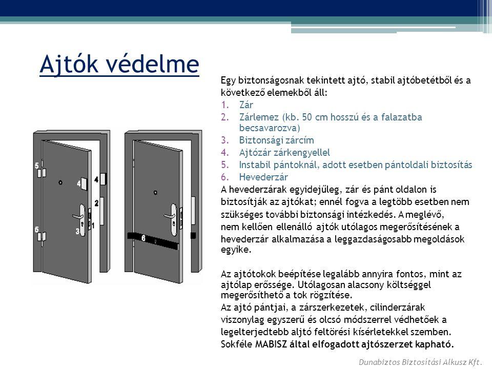 Ajtók védelme Egy biztonságosnak tekintett ajtó, stabil ajtóbetétből és a következő elemekből áll: 1.Zár 2.Zárlemez (kb. 50 cm hosszú és a falazatba b
