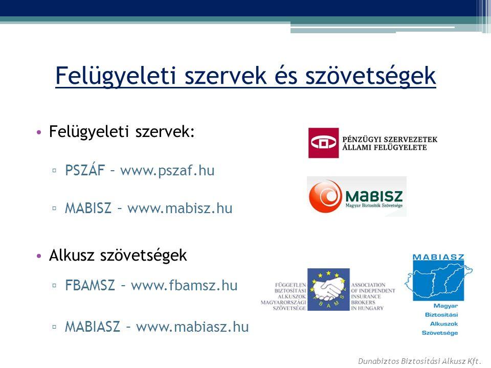 Felügyeleti szervek és szövetségek Felügyeleti szervek: ▫ PSZÁF – www.pszaf.hu ▫ MABISZ – www.mabisz.hu Alkusz szövetségek ▫ FBAMSZ – www.fbamsz.hu ▫ MABIASZ – www.mabiasz.hu Dunabiztos Biztosítási Alkusz Kft.