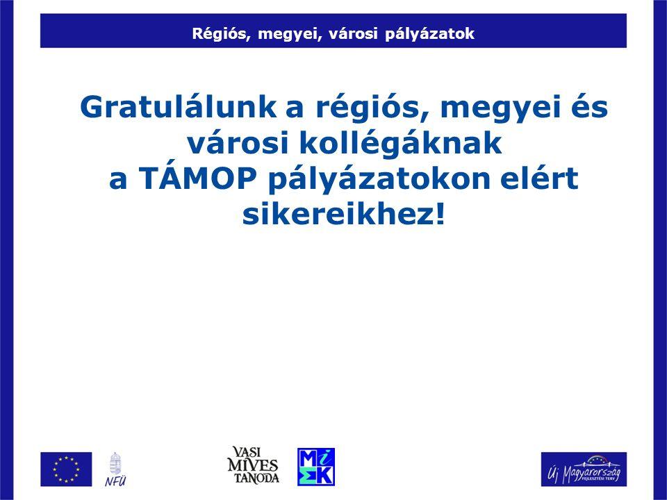 Régiós, megyei, városi pályázatok Gratulálunk a régiós, megyei és városi kollégáknak a TÁMOP pályázatokon elért sikereikhez!