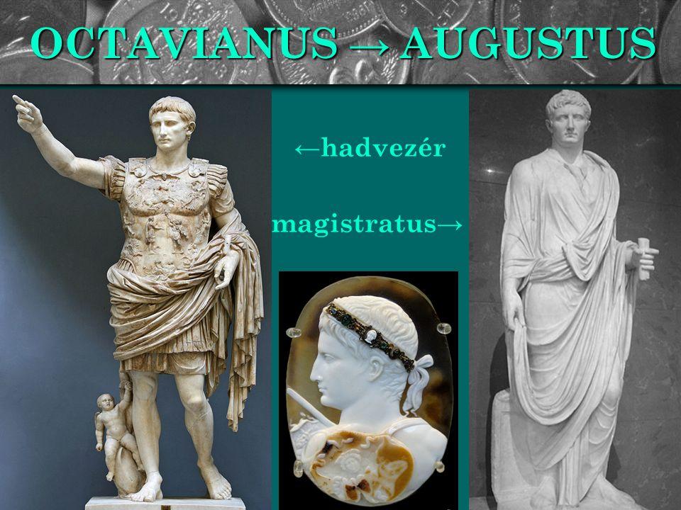 OCTAVIANUS → AUGUSTUS ←hadvezér magistratus →