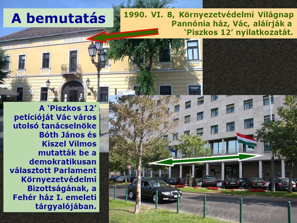 A 'Piszkos 12' petícióját Vác város utolsó tanácselnöke Bóth János és Kiszel Vilmos mutatták be a demokratikusan választott Parlament Környezetvédelmi Bizottságának, a Fehér ház I.