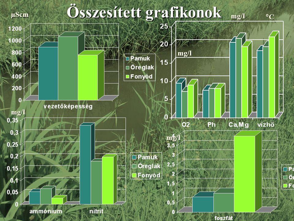 µScm mg/l mg/l°C mg/l mg/l Összesített grafikonok