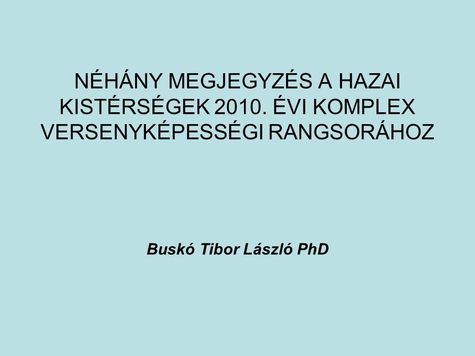 NÉHÁNY MEGJEGYZÉS A HAZAI KISTÉRSÉGEK 2010. ÉVI KOMPLEX VERSENYKÉPESSÉGI RANGSORÁHOZ Buskó Tibor László PhD