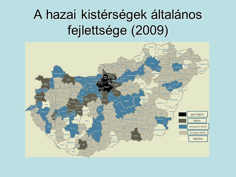 A hazai kistérségek általános fejlettsége (2009)
