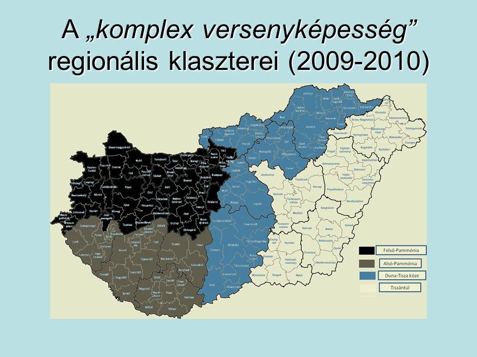 """A """"komplex versenyképesség"""" regionális klaszterei (2009-2010)"""