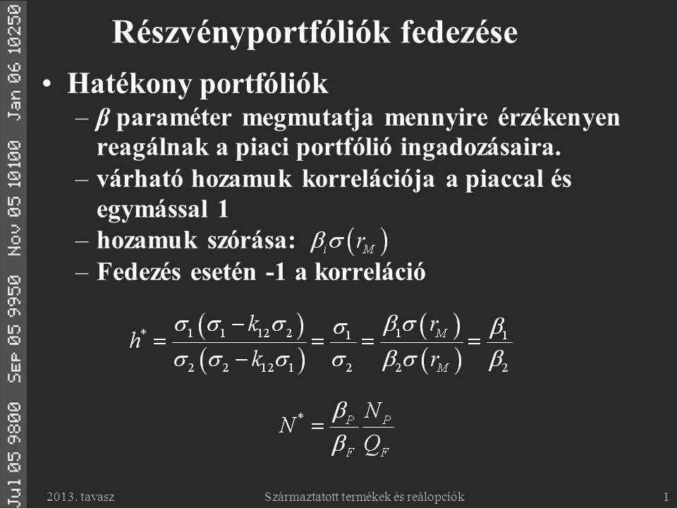 2013. tavaszSzármaztatott termékek és reálopciók1 Részvényportfóliók fedezése Hatékony portfóliók –β paraméter megmutatja mennyire érzékenyen reagálna