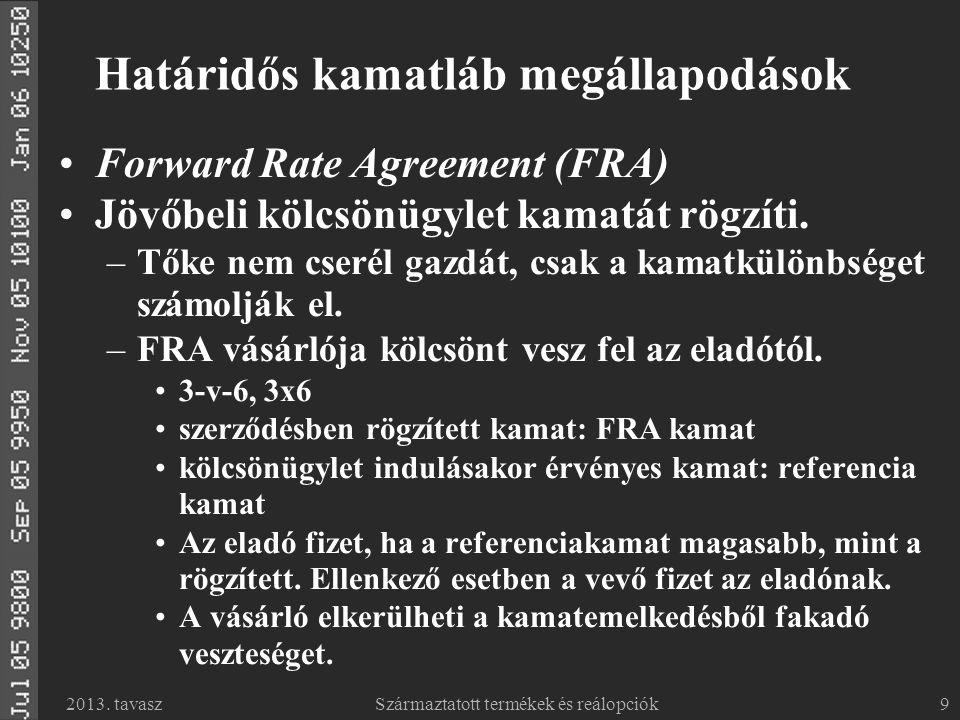 2013. tavaszSzármaztatott termékek és reálopciók9 Határidős kamatláb megállapodások Forward Rate Agreement (FRA) Jövőbeli kölcsönügylet kamatát rögzít