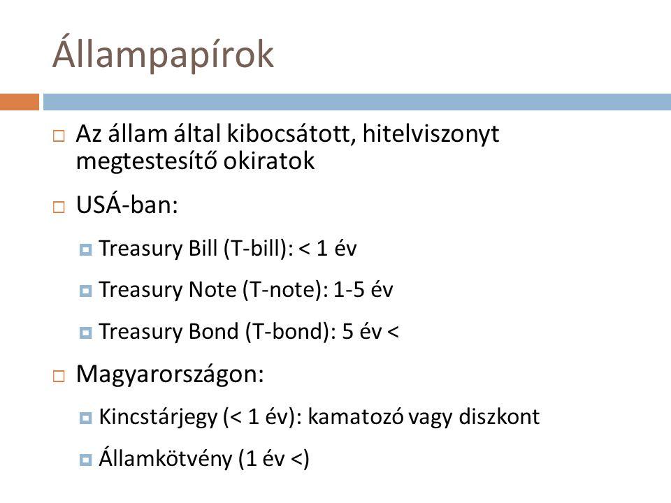 Állampapírok  Az állam által kibocsátott, hitelviszonyt megtestesítő okiratok  USÁ-ban:  Treasury Bill (T-bill): < 1 év  Treasury Note (T-note): 1-5 év  Treasury Bond (T-bond): 5 év <  Magyarországon:  Kincstárjegy (< 1 év): kamatozó vagy diszkont  Államkötvény (1 év <)