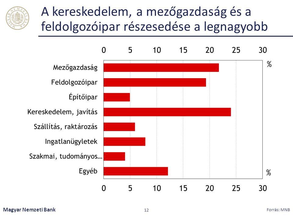 A kereskedelem, a mezőgazdaság és a feldolgozóipar részesedése a legnagyobb Magyar Nemzeti Bank 12 Forrás: MNB