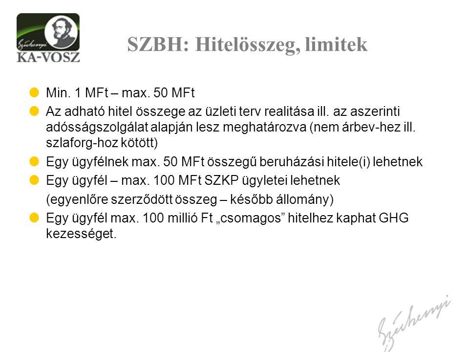 SZBH: Hitelösszeg, limitek  Min. 1 MFt – max. 50 MFt  Az adható hitel összege az üzleti terv realitása ill. az aszerinti adósságszolgálat alapján le