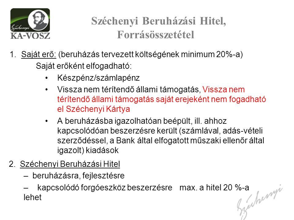 Széchenyi Beruházási Hitel, Forrásösszetétel 1.Saját erő: (beruházás tervezett költségének minimum 20%-a) Saját erőként elfogadható: Készpénz/számlapé