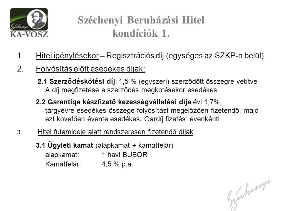 Széchenyi Beruházási Hitel kondíciók 1. 1.Hitel igénylésekor – Regisztrációs díj (egységes az SZKP-n belül) 2.Folyósítás előtt esedékes díjak: 2.1 Sze